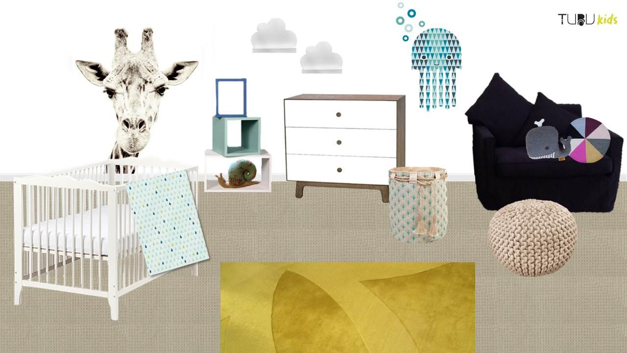 Design board, shared bedroom, Henry's side