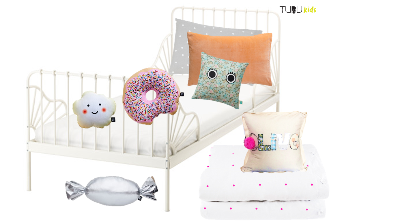 Girl's bedding, design board