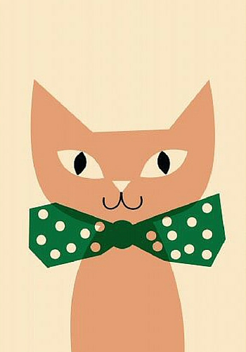 Cat with green bow print