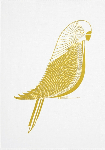 Budgie tea towel by I Ended Up Here