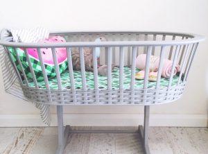 Vintage wicker bassinet, restored