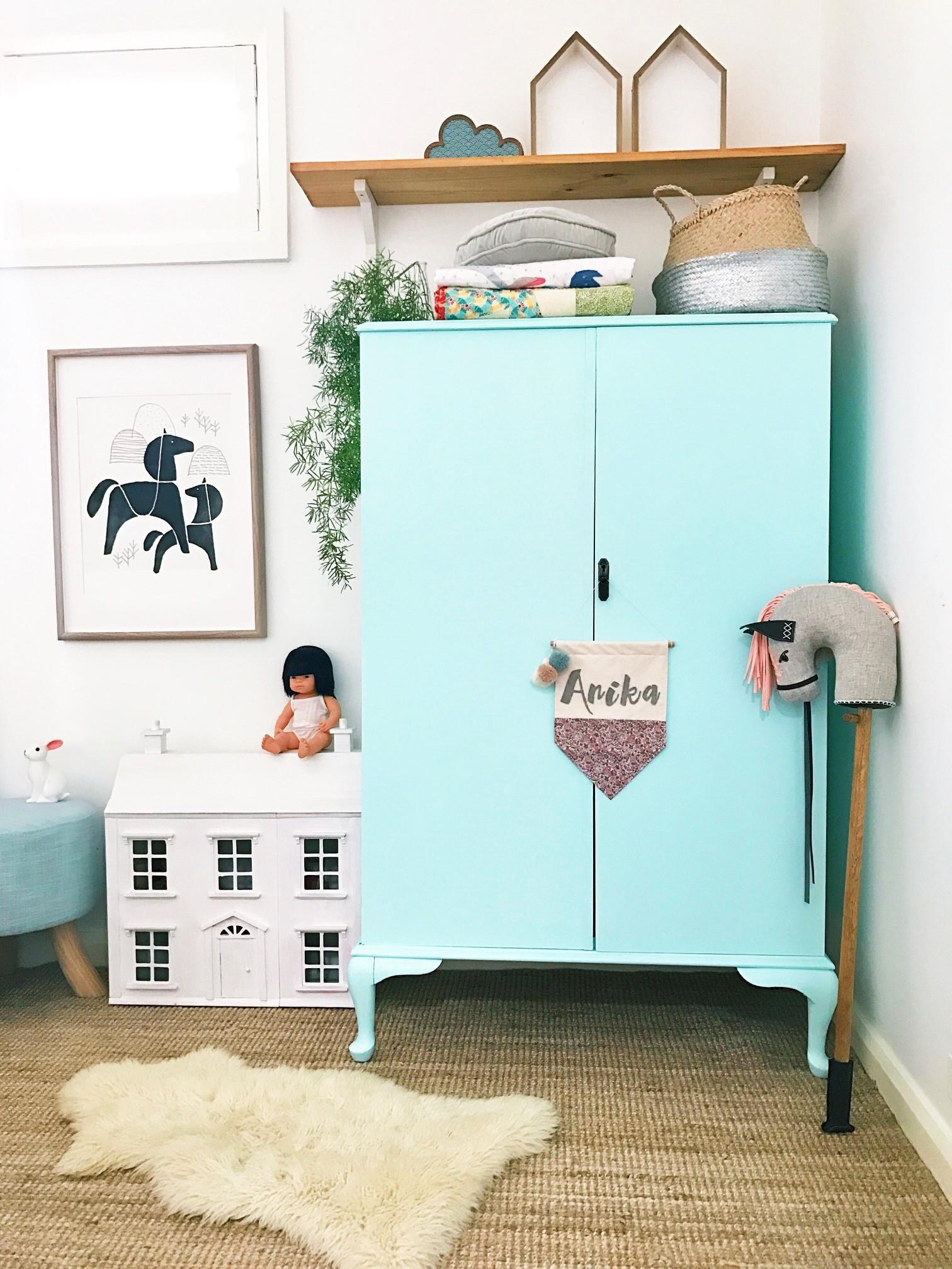 Vintage kids wardrobe, nursery, kids room