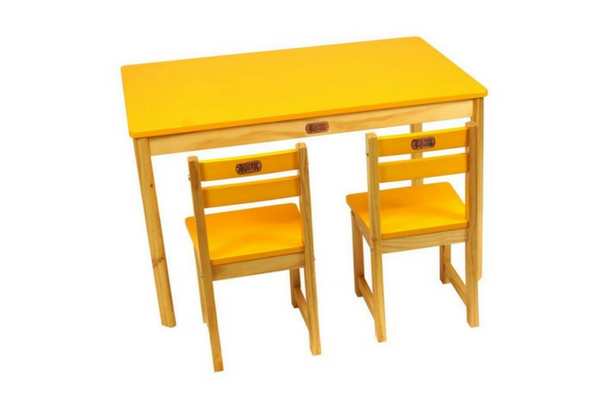yellow kids table and chairs