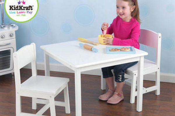white kids table and chairs