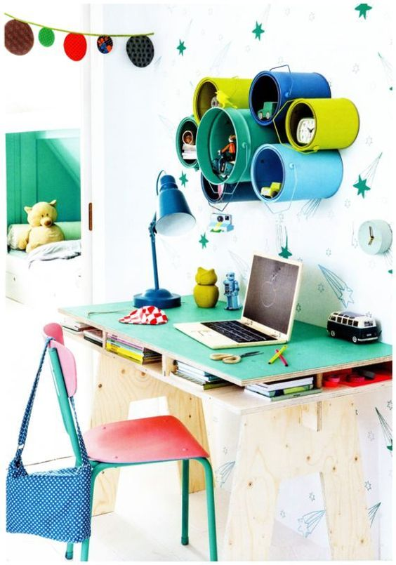 colourful kids desk and chairs