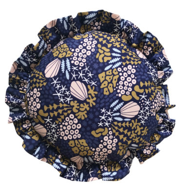 Moonlit Sleep, organic frilly round cushion